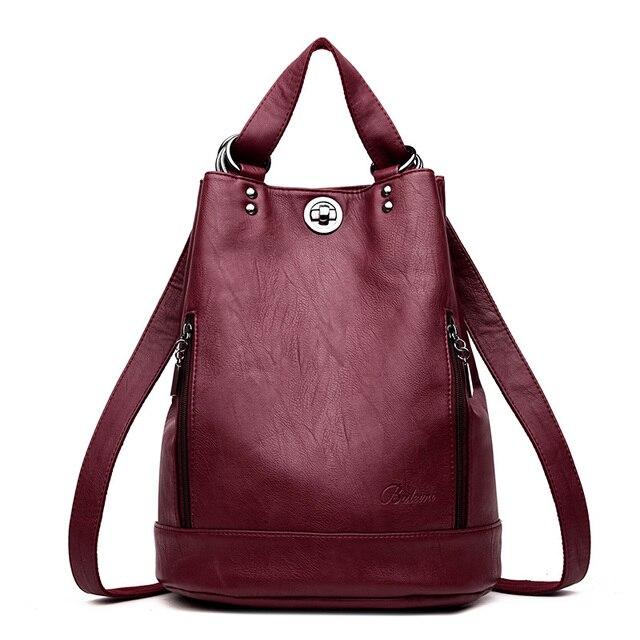 LANYIBAIGE נשים תרמיל תרמילי עור באיכות גבוהה עבור נערות נשי בית ספר כתף תיק Bagpack המוצ ילה plecak
