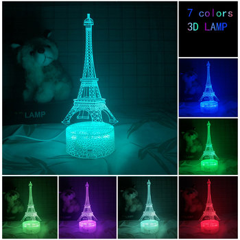 New  3D Lamp USB Night light Iron tower Child luminous touch Colorful gift building table lamp Creativity decoration Gift lights luminous decoration wedding party column lamp colorful colonne lumineuse of tower landscape lighting