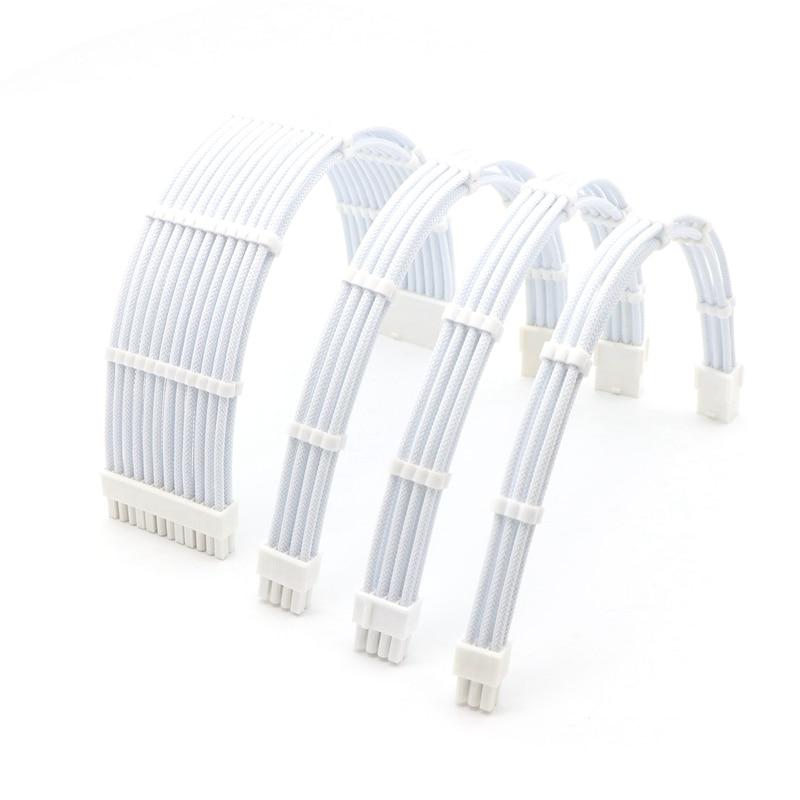 Базовый комплект удлинительных кабелей-180 градусов ATX 24Pin/ CPU 8Pin, GPU 8Pin/ 6Pin Удлинительный кабель питания.