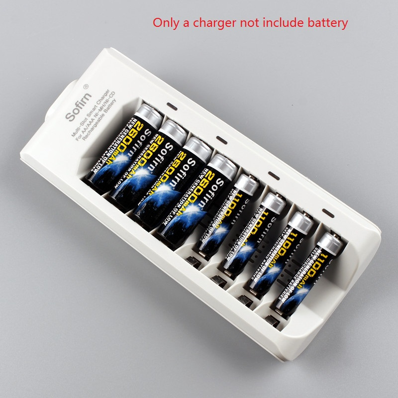 Sofirn 8 Slots Smart Battery Charger With Indicator Light For AA AAA NiMH NiCd Rechargeable Batteries US/EU Plug Without Battery