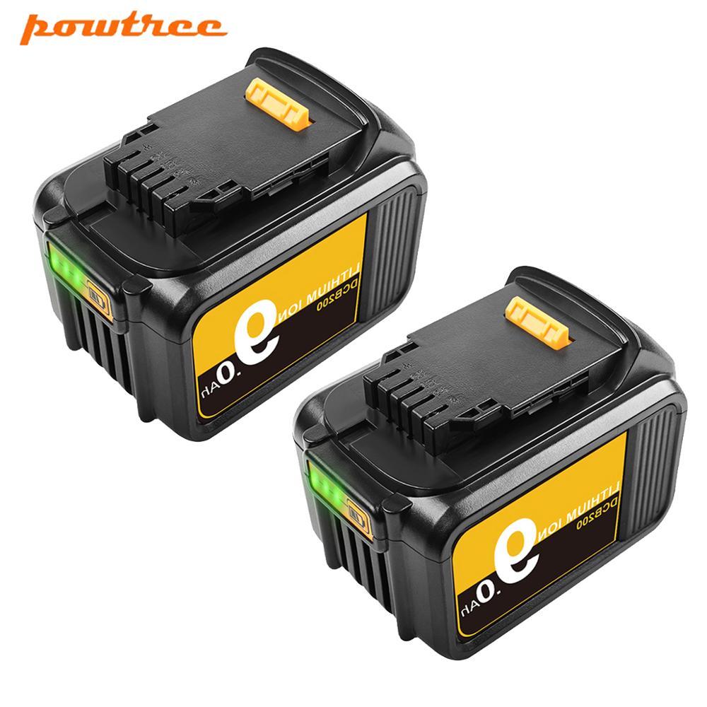 Powtree 18/20V 9.0Ah DCB200 литийионный Аккумулятор для Батарея для DeWalt Макс XR електричюеского инструмента 20V литиевые батареи DCB200 184