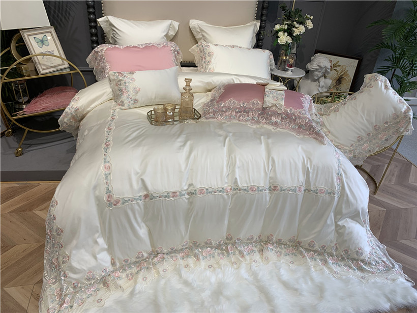 1000TC Premium Egyptian Cotton Bedding Duvet Cover Bed Sheets Set King Queen 4/7Pcs Flower Lace White Pink Princess Bedding Set