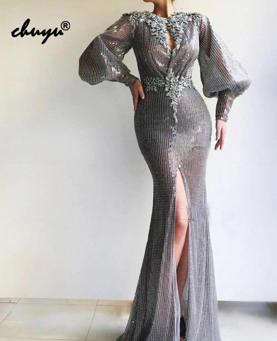 Silver Gray Muslim   Evening     Dresses   V-neck Sequins Lace Islamic Dubai Saudi Arabic Mermaid   Evening     Dress   Prom   Dress