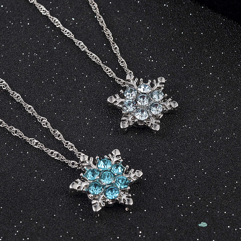Pesona Wanita Vintage Biru Kristal Kepingan Salju Zircon Bunga Kalung Liontin Perhiasan Hadiah untuk Wanita Wanita Grosir