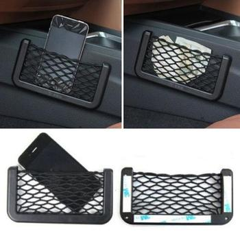 Universal Car Seat Side Back Storage Net Bag Phone Holder Pocket Organizer Black hone Holder Organiser Auto Interior Accessories image