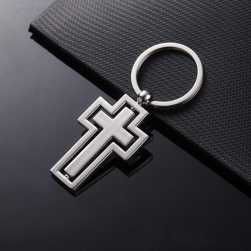 Presentes religiosos metal chaveiro nova personalidade girando cruz chaveiro carro pingente atividade por itens de presente personalizado k2701