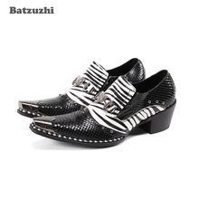 Batzuzhi New Designer's Shoes Pointed Metal Tip Black White Genuine Leather Dress Shoes for Men Formal Business and Party,38-46 new arrival black alligator genuine leather handmade metal tip spikes pointed toe slip on formal dress shoes sexy fashion mans