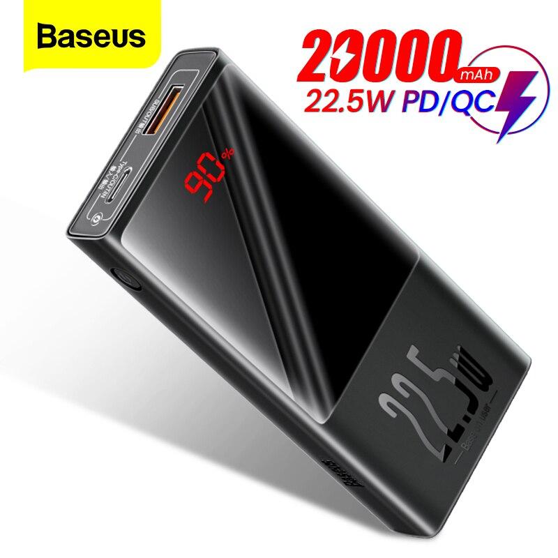 Baseus-Banco de energía de 20000mAh, Powerbank con USB tipo C PD QC 3,0, 10000mAh, con pantalla LED, cargador de batería externo portátil para iPhone