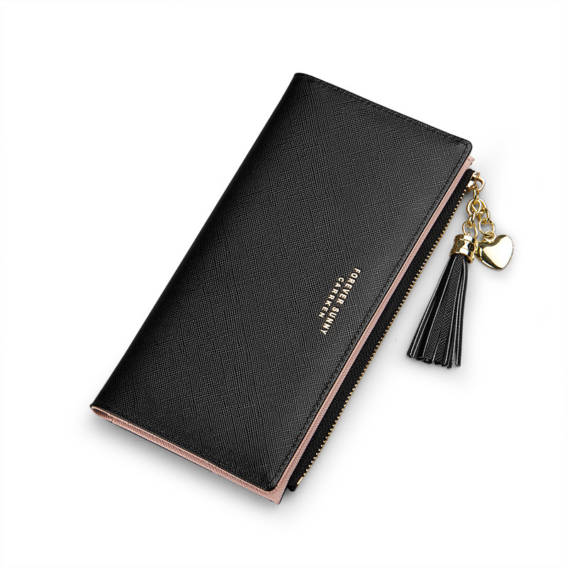 Korea Style Forever Sunny Tassel Long Design Clutch Cell Phone Purses Zipper Portefeuille Female Purse Clutch Cartera Mujer