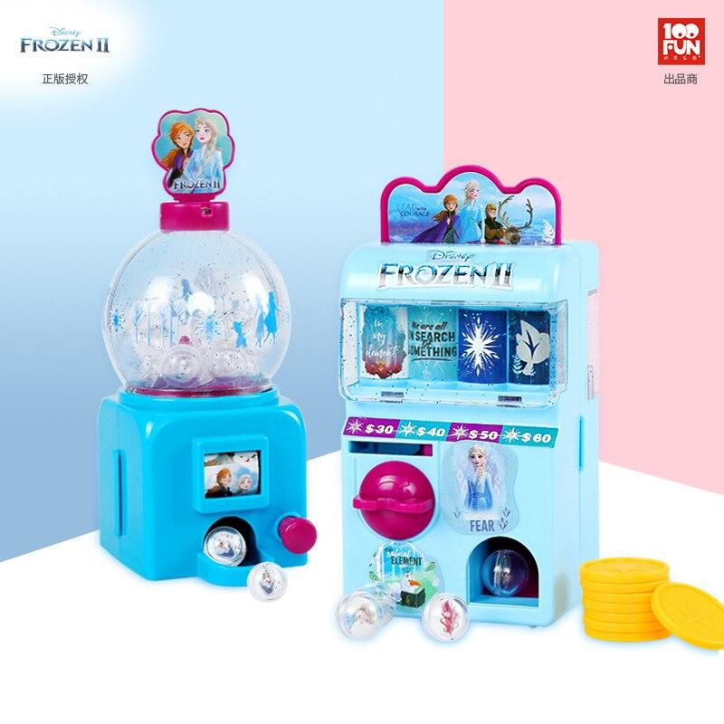 Frozen2 Disney Mini Vending Machine Little Girl Pretend Play Toy Vending Machine Coin Slot Machine Birthday Gift