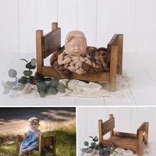 Accesorios para fotografía de recién nacidos cama desmontable Vintage cuna de madera estudio apoyos recién nacidos posando bebé foto mes accesorios de fotografía