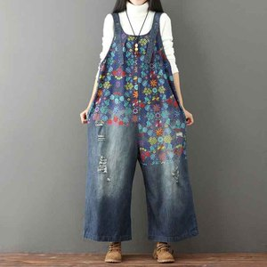 Image 3 - Helisopus Hot Vintage Printed Holes Ripped Jean Jumpsuit Plus Size Wide Legs Bib Overalls For Women Drop Crotch Denim Rompers