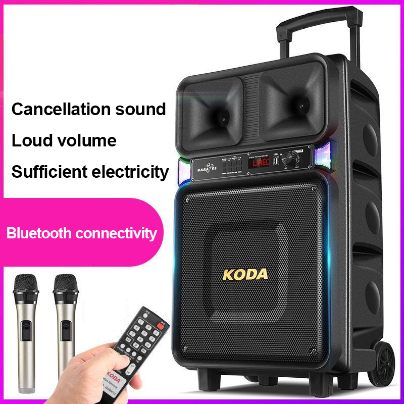 Big Power 120W Wireless Portable Bluetooth Speaker Pull Rod Outdoor With Microphone Music Player Wedding AUX USB Loudspeaker 4