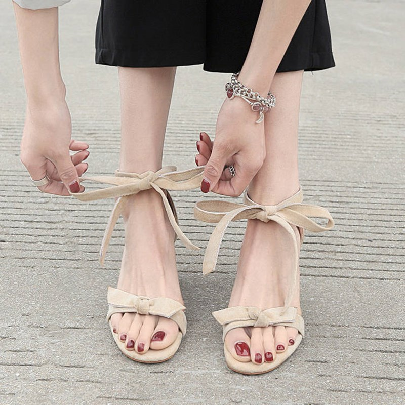Cross-strap Ribbon Bow Sweet Fashion Wild High-heeled Sandals Thick Heel Simple Comfortable Temperament Sexy High-heeled Sandals