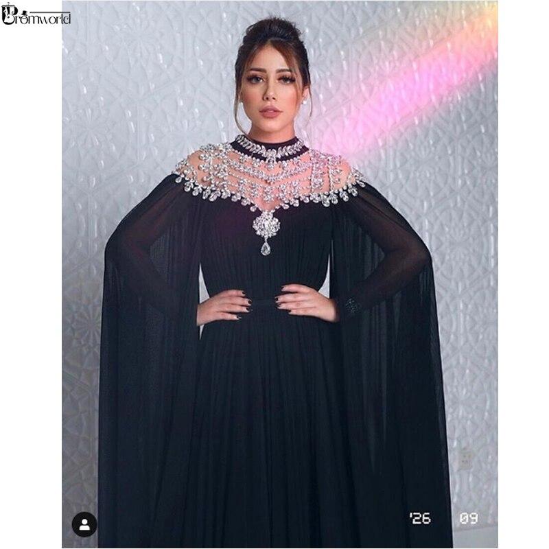 Robes de soirée musulmanes noires 2019 col haut Caped cristaux en mousseline de soie Dubai Kftan saoudien arabe robe de soirée formelle longue robe de bal
