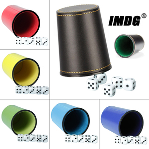 New Leather PU Trumpet Flannel Dice Cup Bar KTV Entertainment Dice Cup With Dices(China)