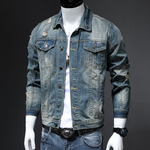 Xuansheng Original Denim Jacket Men's Street Fashion Hip Hop punk Tide Corduroy Color Matching Design Warm Denim jackets Clothes(China)