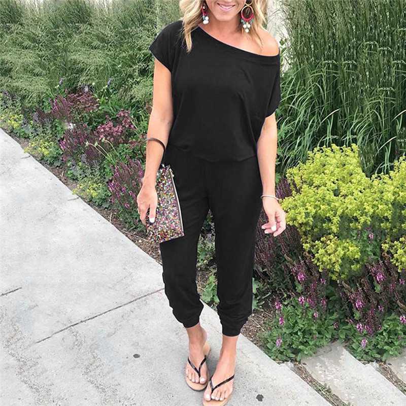 Summer Women Casual Loose Jumpsuit Off Shoulder Short Sleeve Long Pant Female Solid Jumpsuits Plus Size S-5XL