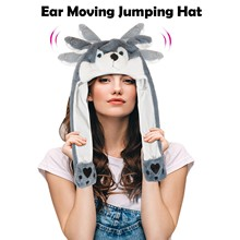 Toy Moving Plush-Hat Cartoon Gift Ear Cap Headgear-Accessories Wolves Holiday Christmas-Party