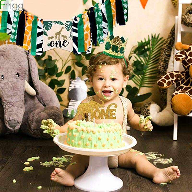 Frigg 1st Birthday Party ตกแต่งแบนเนอร์เค้ก Topper หมวก Tropical Jungle Theme Party Jungle Safari พรรค Party Decor