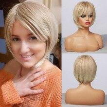 Короткие светильник мые синтетические парики с эффектом омбре светлый блонд с челкой для женщин, прическа Боб, косплей, термостойкие парики...