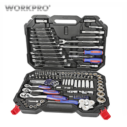 WORKPRO 123 piezas nuevo juego de herramientas mecánicas para el coche, juego de herramientas para el hogar, juego de llaves con mango de trinquete de liberación rápida