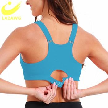 LAZAWG Plus Size S 5XL Sports Bra for Women Gym Push Up Vest Underwear High
