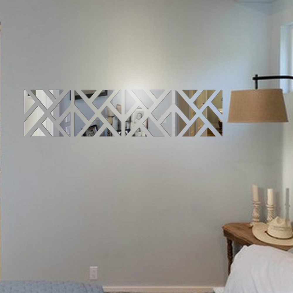 32 Chiếc 3D Gương Acrylic Dán Tường DIY Phòng Khách Phòng Ngủ Nghệ Thuật Vinyl Decal Trang Trí Nhà Trang Trí Phòng Có Thể Tháo Rời Miếng Dán