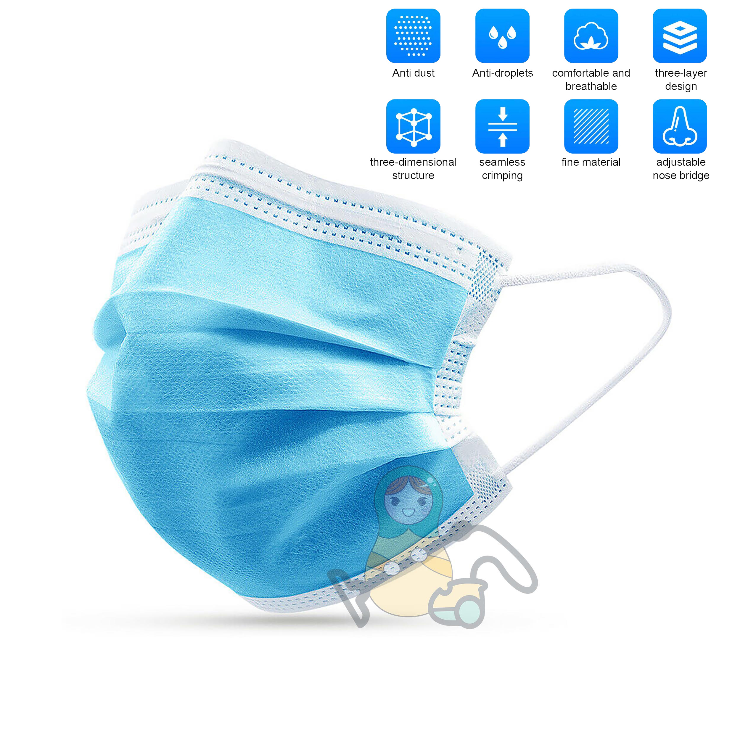 3-Ply Disposable Masks Coronavirus  Anti-virus Medical Surgical Mask Ear-loop one time face respirator Mouth covers 1