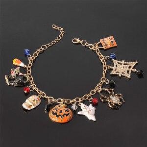 pulseras mujer moda 2019 Halloween Bracelet Cat mask pumpkin ghost spider skull fashion accessories Holiday Gift Women's jewelry(China)