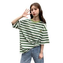 korean style summer big size T-shirt for Female Ulzzang cute Rainbow stripes T Shirts Harajuku loose Women Tops O-Neck Tee Shirt(China)