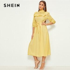 Image 5 - SHEIN モックネックフリルトリム自己付きドレス女性の春秋のロングドレスフィットとフレア A ラインエレガントな帝国ドレス