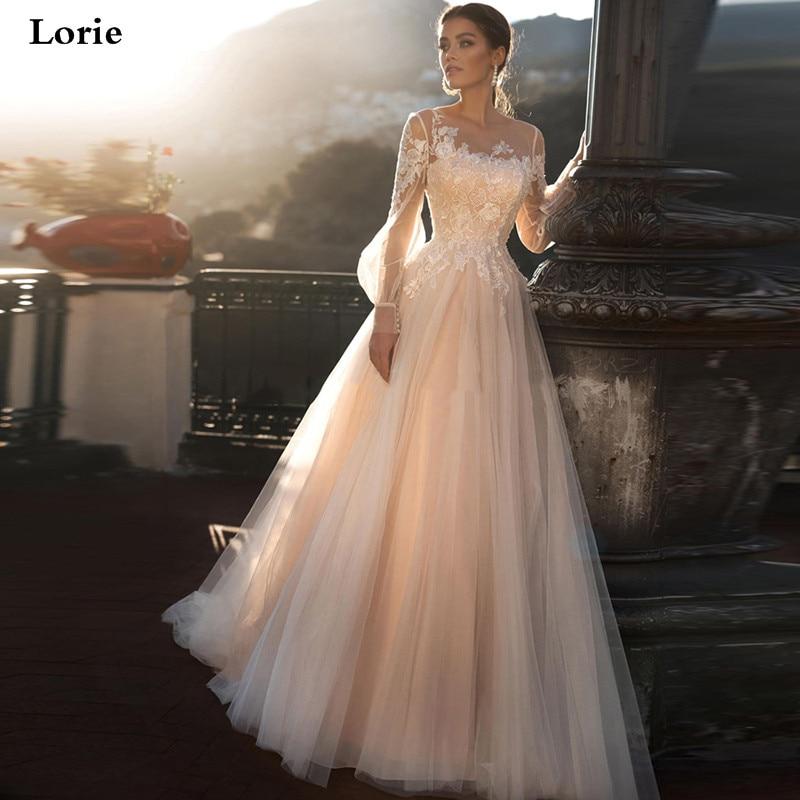 Lorie Champagne Princess Wedding Dress A-Line Puff Sleeve Wedding Gowns Boho Lace Appliques Lace Bridal Dresses