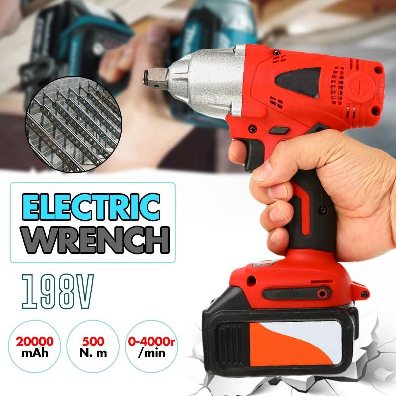 198V 20000mAh voiture prise électrique clé à chocs 500Nm Max couple bricolage ménage électrique clé changeante des outils de pneu