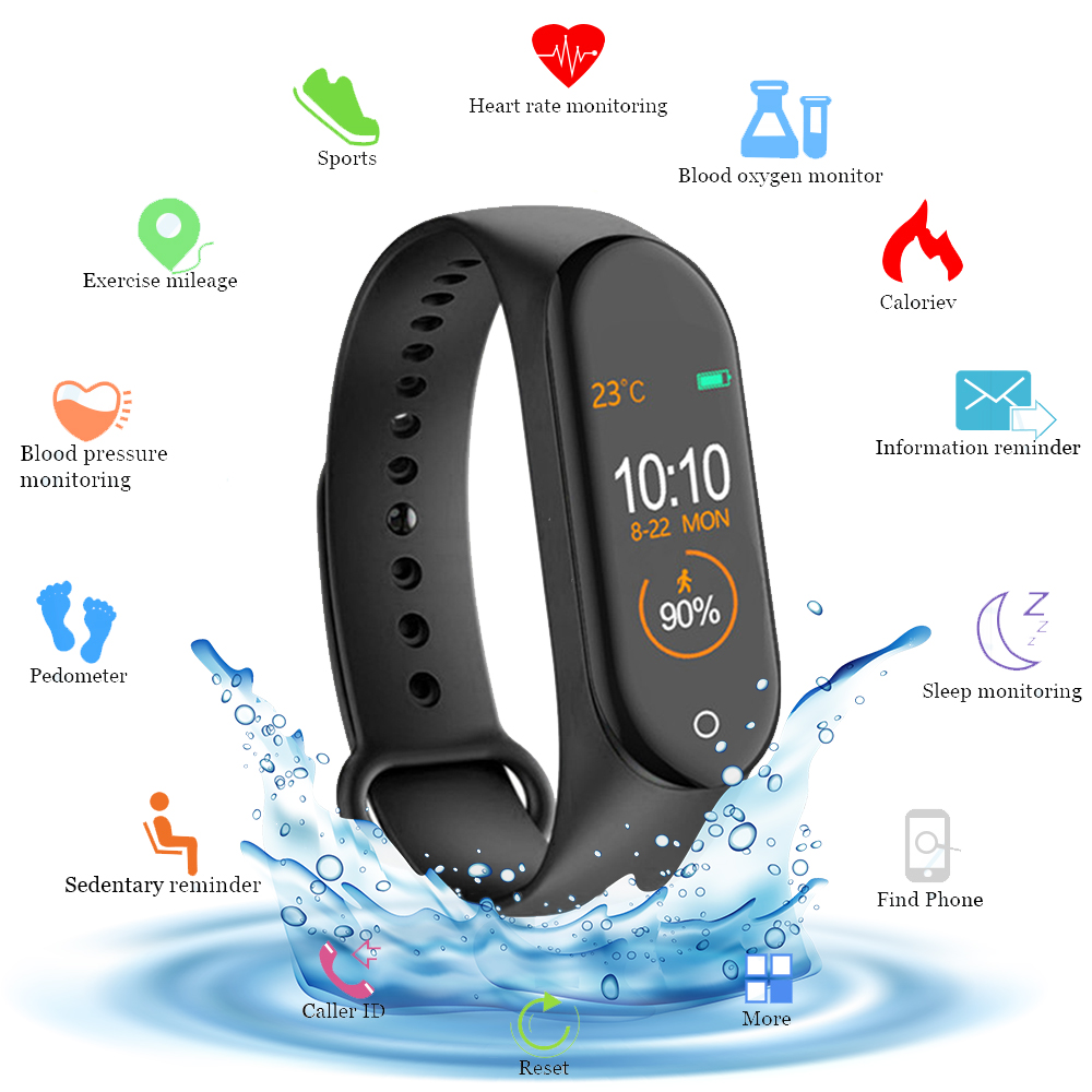 Image result for New M4 Smart Band Fitness Tracker Smart Watch Sport Smart Bracelet Heart Rate Blood Pressure Smartband Monitor Health Wristband (E-BUY Global Store (AliExpress))