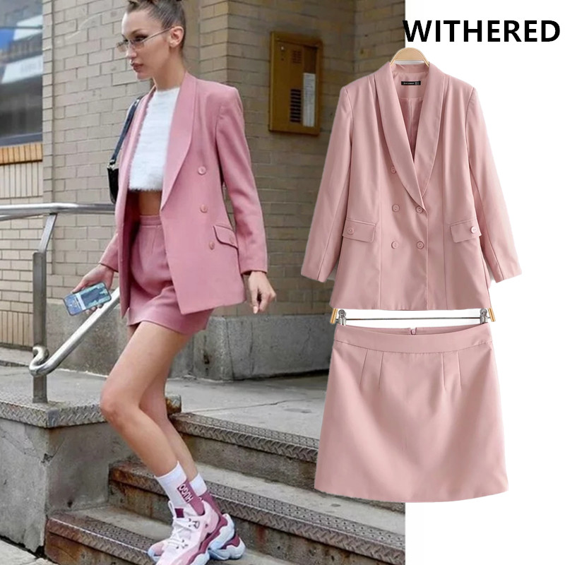 Withered england fashion blogger pink color blazer feminino mini skirt women two piece set conjuntos de mujer tracksuit women