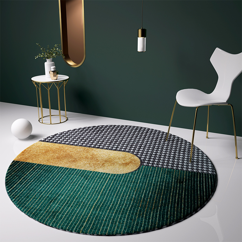 Nordic style green round shaped geometric area rug  carpet  big size post modern home decoration  coffee table carpet|Carpet| |  - title=