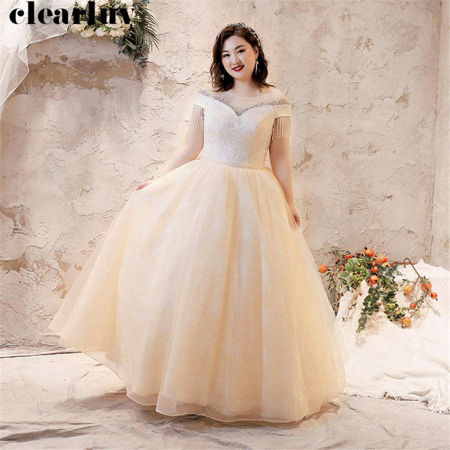 Tassel Wedding Dresses 2019 Plus Size Champagne Bridal Gowns T244 Short Sleeve Vestido De Novia Free Shipping Long Wedding Gowns
