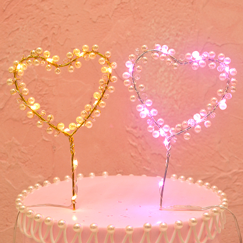 12 Glitter Heart Wedding Picks Flags Party Cupcake Cake Toppers Decoration