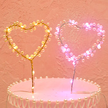 LED Parel Cake Toppers Hart Vorm Bruiloft Cupcake Topper Happy Birthday Baby Shower Cake Decorating Gereedschap(China)