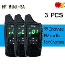 3 Pcs Hf 3A Mini Walkie Talkie Vox Voice Control Uhf 400 520Mhz 99CH Ultra Kleine Radio transceiver Met Oortje Gratis Hoofdtelefoon