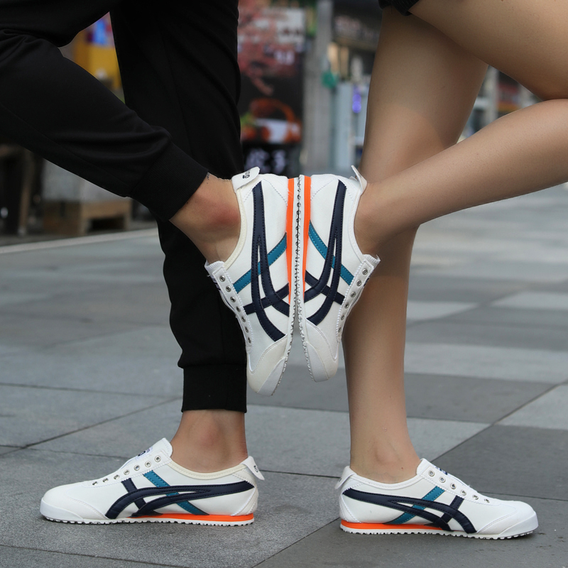 Set of feet a pedal couple tiger shoes female flat bottom running sports breathable Korean version of the wild trend 2019 autumn