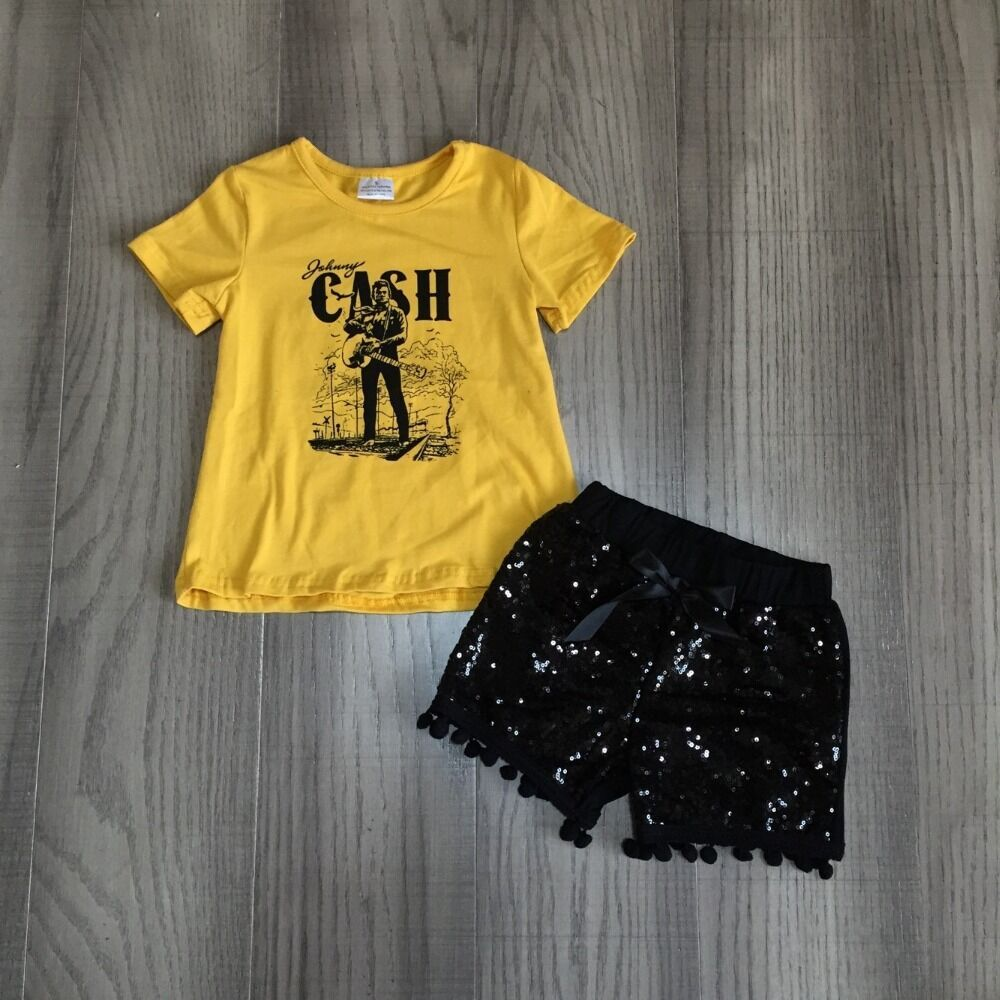 Baby Girls Summer Outfits Yellow Cash Shirt With Black Sequins Shorts Children Outfits Wholesale