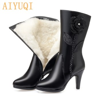 AIYUQI Sexy High Heel Boots Ladies 2020 Genuine Leather Wool Warm Women Winter Boots Stiletto Flowers Women Fashion Boots aiyuqi winter boots women wool warm 2020 new genuine leather women booties ankle boots thick heel short boots women