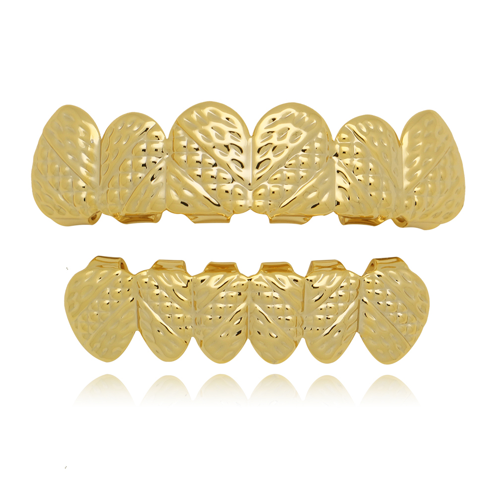 Fashion House Wife Hip Hop Grillz Teeth Sets Rose Gold/Gun Black Plated Carving Printing Twill Section Teeth Grillz NL0014