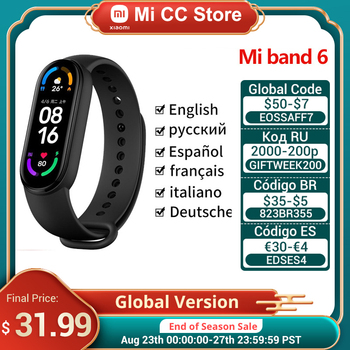 Global Version Xiaomi Mi Band 6 AMOLED Screen Blood Oxygen Fitness Traker Heart Rate 5ATM Waterproof Smart Band 5 Color Bracelet 1