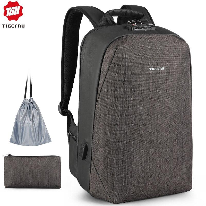 Bagaj ve Çantalar'ten Sırt Çantaları'de Tigernu RFID iş sırt çantası TSA Seyahat Kilidi Bagaj Kartı Koruma Anti hırsızlık Sırt Çantaları Erkekler Su Geçirmez 15.6 Laptop'da  Grup 1