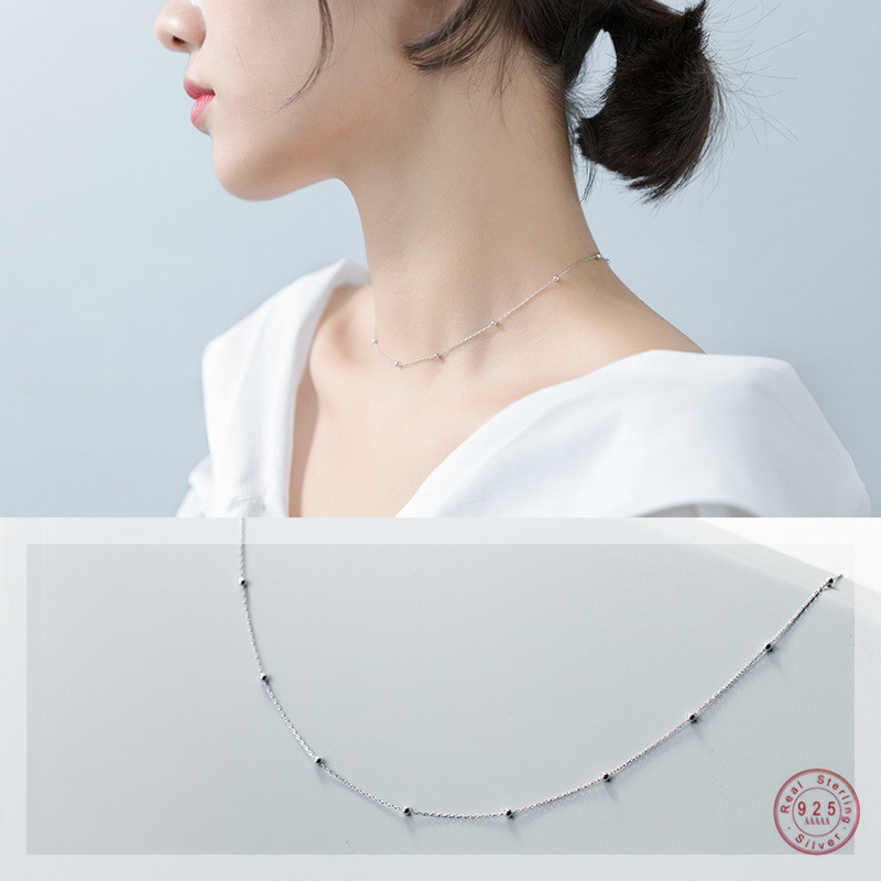 WANTME Genuine 100% 925 Sterling Silver Cross Chain Glossy Bead Choker Necklace Women Minimalist Fine Jewelry Cute Accessories
