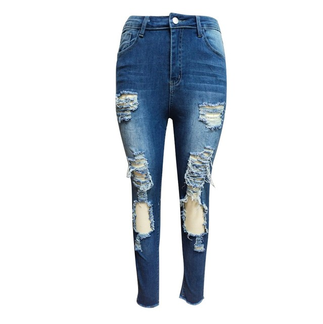 Luz Azul Jeans rasgados para damas 2021 calle estilo Sexy low Rise Distressed Pantalón Stretch Skinny agujero pantalones de Vaqueros pitillo 4