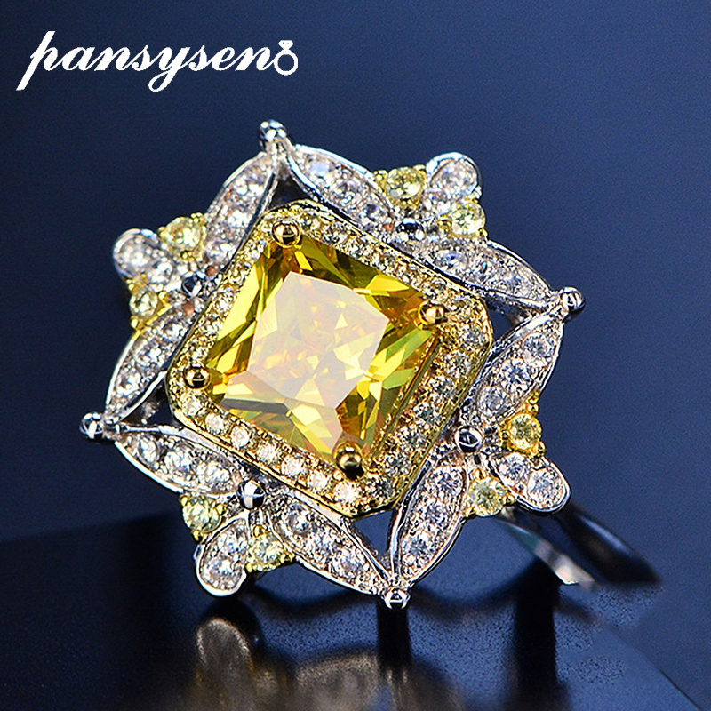 PANSYSEN Luxury Citrine Gemstone Rings For Women Real 925 Sterling Silver Jewelry Ring Wholesale Wedding Engagement Fine Jewelry
